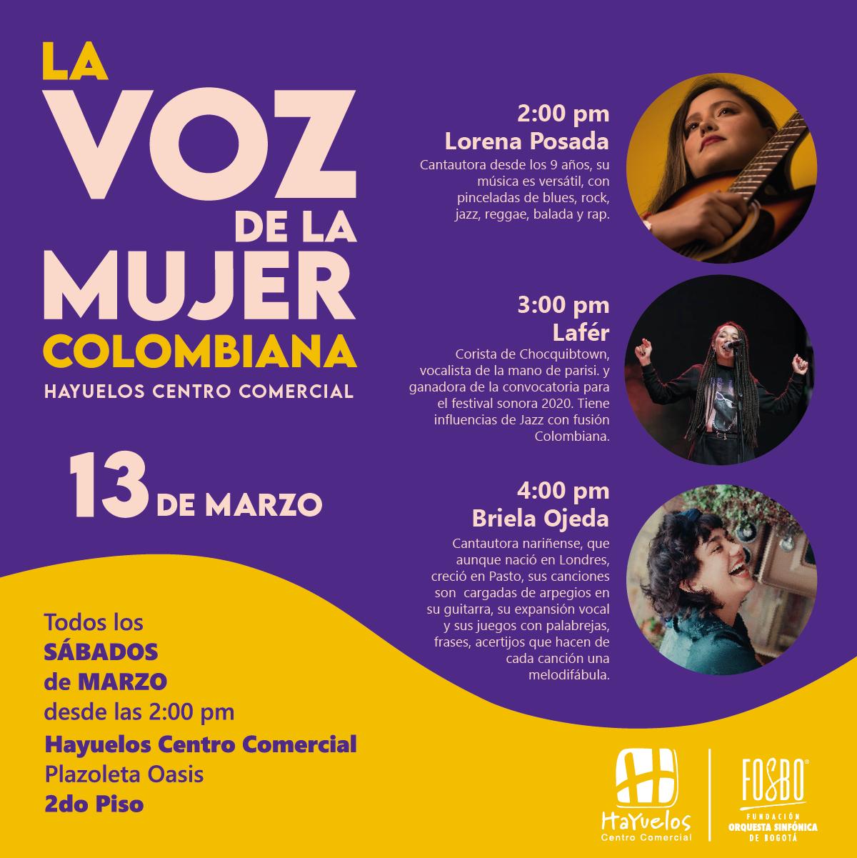 La voz de la mujer colombiana Hayuelos Fosbo